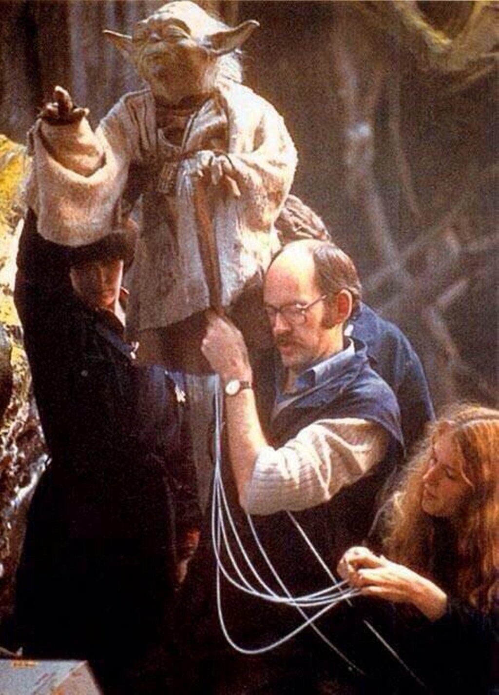 Frank Oz and Yoda behind the scenes of The Empire Strikes Back