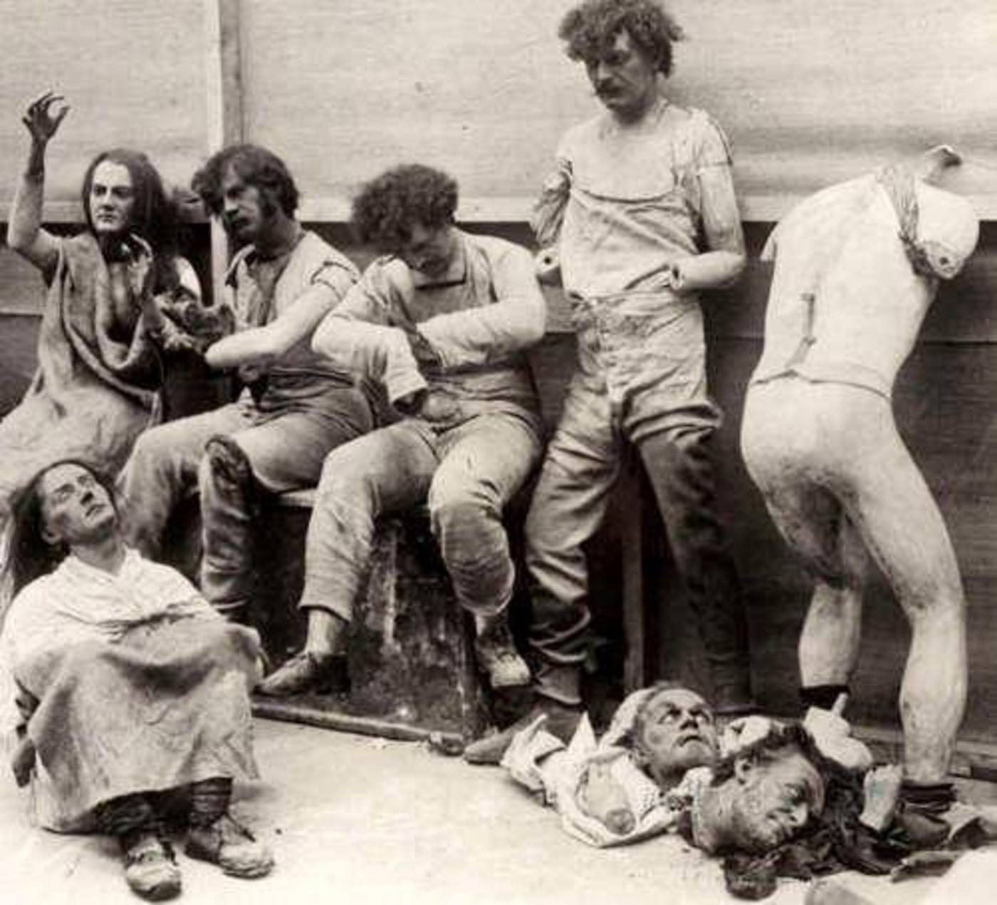 Melted and damaged mannequins after a fire at Madam Tussaud's Wax Museum in London, 1925