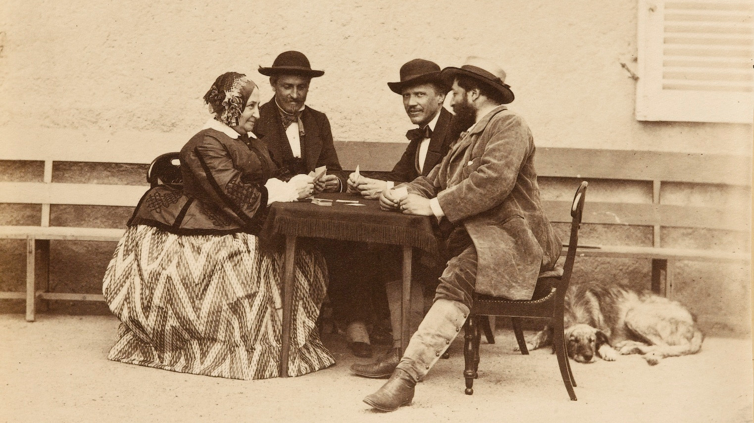 One of the earliest photographs of a card game. By Olympe Aguado, 1860