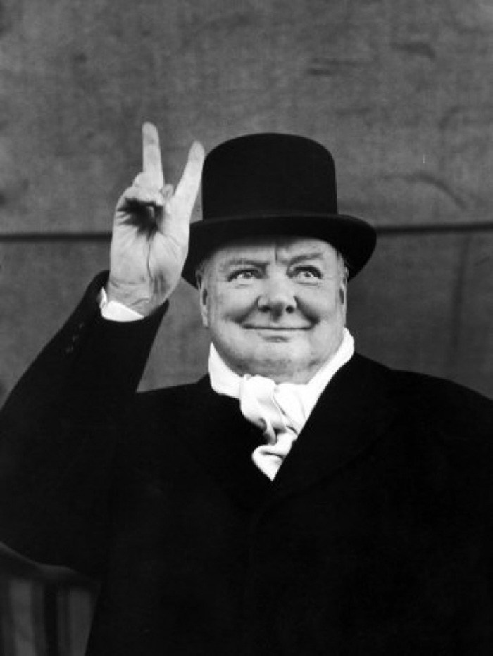 Winston Churchill Making V for Victory Sign Premium Photographic Print by Alfred Eisenstaedt, 1951