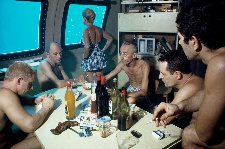 Жак–Ив Кусто с командой в подводном доме Морская звезда, 1963