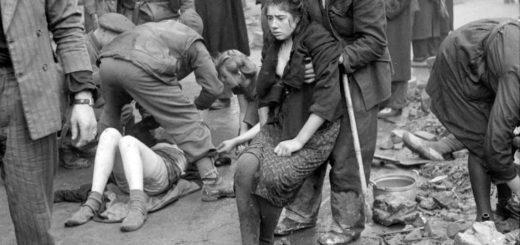 Спасение советских рабынь из подожженных немецкими полицейскими подвалов Оснабрюка, Германия, 7 апреля 1945 года